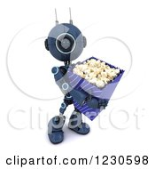 Clipart Of A 3d Blue Android Robot With Movie Popcorn Royalty Free Illustration