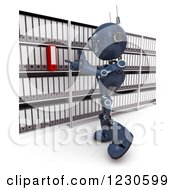 Clipart Of A 3d Blue Android Robot Searching Or Filing Documents Royalty Free Illustration by KJ Pargeter