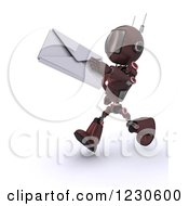 Clipart Of A 3d Red Android Robot Running With A Letter Envelope Royalty Free Illustration