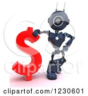 Clipart Of A 3d Blue Android Robot Standing By A Dollar Currency Symbol Royalty Free Illustration