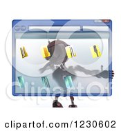 Clipart Of A 3d Red Android Robot Behind A Computer File Window Royalty Free Illustration by KJ Pargeter