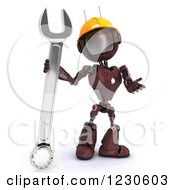 Clipart Of A 3d Red Android Construction Robot With A Spanner Wrench 2 Royalty Free Illustration by KJ Pargeter