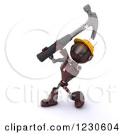 Clipart Of A 3d Red Android Construction Robot Hammering Royalty Free Illustration