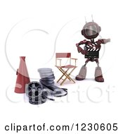 Clipart Of A 3d Red Android Robot Movie Director Royalty Free Illustration by KJ Pargeter