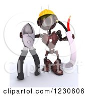 Clipart Of A 3d Red Android Construction Robot With Wire Cutters Royalty Free Illustration