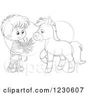 Happy Outlined Boy Feeding A Horse Hay