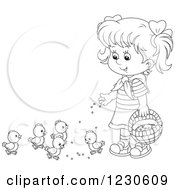 Clipart Of A Happy Outlined Girl Feeding Chicks Royalty Free Vector Illustration by Alex Bannykh