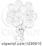 Clipart Of An Outlined Happy Bunny Rabbit With Party Balloons Royalty Free Vector Illustration