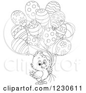 Clipart Of A Cute Line Art Chick With Party Balloons Royalty Free Illustration
