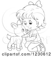 Clipart Of A Happy Outlined Girl Petting A Baby Goat Royalty Free Vector Illustration by Alex Bannykh