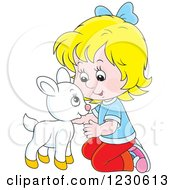 Clipart Of A Happy Blond Caucasian Girl Petting A Baby Goat Royalty Free Vector Illustration by Alex Bannykh