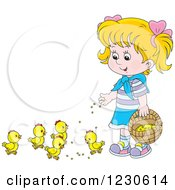 Clipart Of A Happy Blond Girl Feeding Chicks Royalty Free Vector Illustration by Alex Bannykh