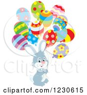 Clipart Of A Happy Gray Bunny Rabbit With Party Balloons Royalty Free Vector Illustration