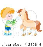 Happy Caucasian Boy Feeding A Horse Hay