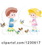 Clipart Of Caucasian Children Feeding Birds Royalty Free Illustration by Alex Bannykh