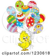 Clipart Of A Cute Yellow Chick With Party Balloons Royalty Free Illustration