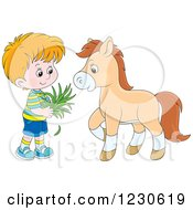 Clipart Of A Happy White Boy Feeding A Horse Hay Royalty Free Vector Illustration