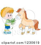 Happy White Boy Feeding A Horse Hay