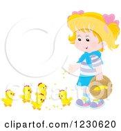Happy Blond Caucasian Girl Feeding Chicks