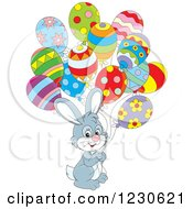 Clipart Of A Gray Bunny Rabbit With Party Balloons Royalty Free Vector Illustration
