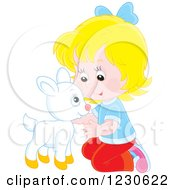 Clipart Of A Happy Caucasian Girl Petting A Baby Goat Royalty Free Vector Illustration