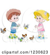 Clipart Of White Children Feeding Birds Royalty Free Illustration