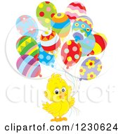 Clipart Of A Cute Chick With Party Balloons Royalty Free Illustration by Alex Bannykh