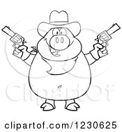 Clipart Of An Outlined Shooting Cowboy Pig Royalty Free Vector Illustration
