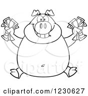 Clipart Of An Outlined Rich Pig Holding Cash Money Royalty Free Vector Illustration