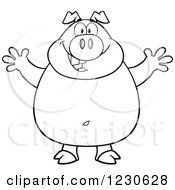 Clipart Of An Outlined Pig With Open Arms For A Hug Royalty Free Vector Illustration