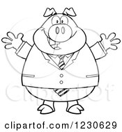 Clipart Of An Outlined Happy Welcoming Business Pig Royalty Free Vector Illustration