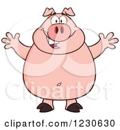 Clipart Of A Happy Pig With Open Arms For A Hug Royalty Free Vector Illustration