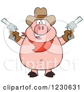 Clipart Of A Shooting Cowboy Pig Royalty Free Vector Illustration