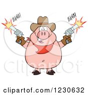 Clipart Of A Cowboy Pig Shooting Pistols Royalty Free Vector Illustration