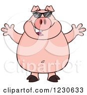 Clipart Of A Happy Pig With Sunglasses And Open Arms Royalty Free Vector Illustration