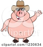 Clipart Of A Waving Pig With Sunglasses And A Cowboy Hat Royalty Free Vector Illustration