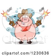 Clipart Of A Shooting Cowboy Pig Smoking A Cigar Royalty Free Vector Illustration