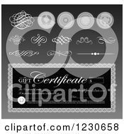 Clipart Of A Grayscale Gift Certificate With Swirls And Seals 2 Royalty Free Vector Illustration by BestVector