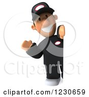 Clipart Of A 3d Friendly Auto Mechanic Man Waving Around A Sign Royalty Free Illustration