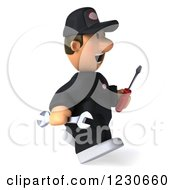 Clipart Of A 3d Happy Auto Mechanic Man Walking With Tools Royalty Free Illustration