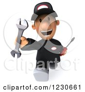 Clipart Of A 3d Happy Auto Mechanic Man Walking With Tools 2 Royalty Free Illustration