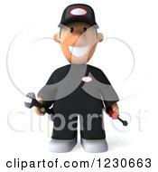 3d Happy Auto Mechanic Man