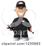 Clipart Of A 3d Happy Auto Mechanic Man Royalty Free Illustration by Julos