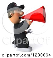 Clipart Of A 3d Auto Mechanic Man Announcing With A Megaphone Royalty Free Illustration