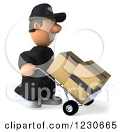 Clipart Of A 3d Auto Mechanic Man Moving Boxes On A Dolly Royalty Free Illustration