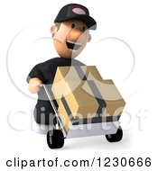 Clipart Of A 3d Auto Mechanic Man Moving Boxes On A Dolly 2 Royalty Free Illustration