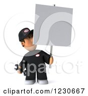Clipart Of A 3d Auto Mechanic Man Holding Up A Sign Royalty Free Illustration