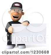 Clipart Of A 3d Happy Auto Mechanic Man Holding A Sign Royalty Free Illustration