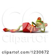 3d Female Springer Frog Resting In A Red Dress
