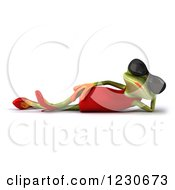 3d Female Springer Frog In Shades Resting In A Red Dress